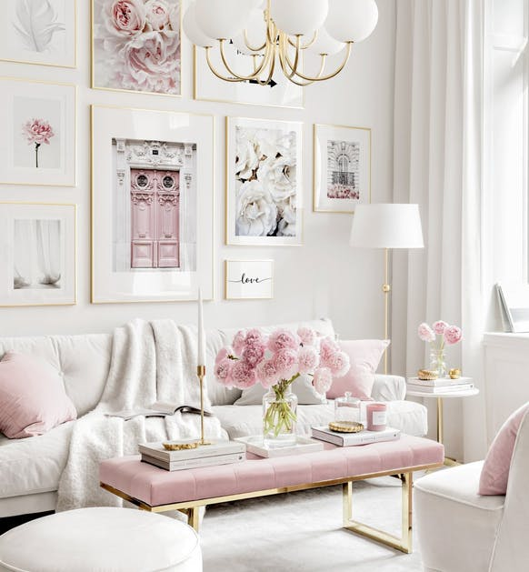 Pink harmony gallery wall flower posters pink wall art golden frames