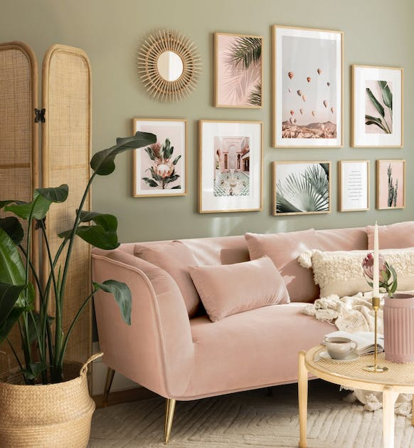 Pink bohemic gallery wall with botanical photo art for living room